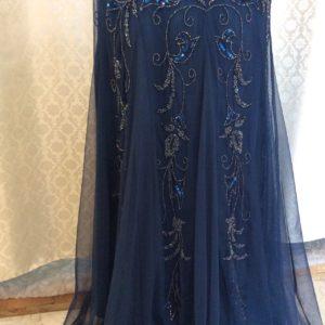 Adrianna Papell ネイビー ビーズ刺繡ドレス 沖縄 パーティードレス