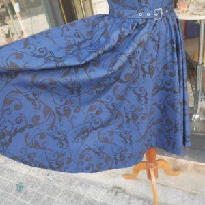 沖縄 パーティードレス お呼ばれドレス 結婚式 披露宴 カジュアルドレス ワンピース ビンテージドレス ネイビー ミディアム丈ドレス レトロドレス