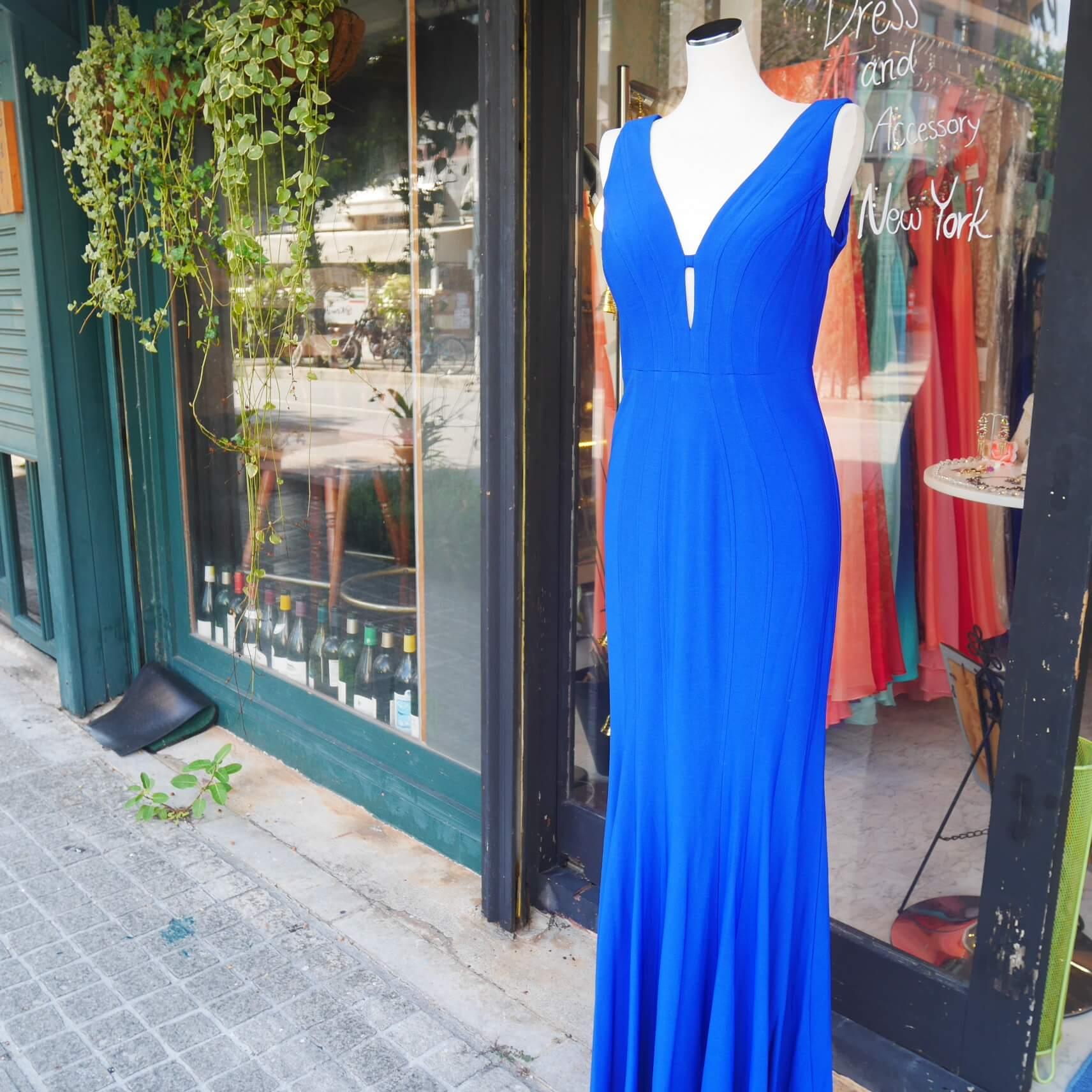 沖縄 パーティードレス 二次会ドレス ボールドレス ロイヤルブルー スレンダードレス ステージドレス ドレス ロイヤルブルー