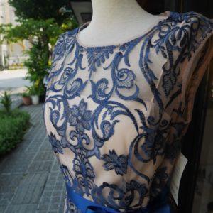 沖縄 パーティードレス ストレートライン ブルーレースドレス 上品なドレス バックスリット スリットドレス